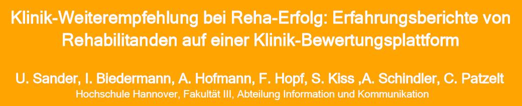 Poster zu Klinik-Weiterempfehlung Rehabilitanden